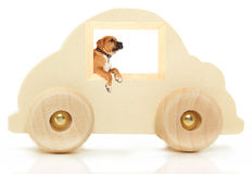 Wooden Car Toy with Boxer in Window Stock Image