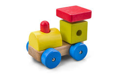 Wooden car - truck toy with colorful blocks isolated over white with clipping path. Royalty Free Stock Image