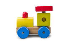 Wooden car - truck toy with colorful blocks isolated over white with clipping path Stock Image