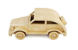Wooden car  on white background.. 3d. Stock Photo