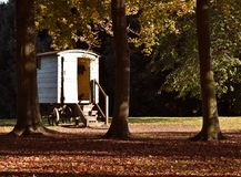 Wooden Caravan Gypsy Style in Autumn Woods royalty free stock photo