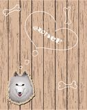 Wooden card with devoted dog Royalty Free Stock Photos