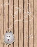 Wooden card with devoted dog. Wooden card with dreaming dog. Vector eps10 Stock Photos