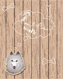 Wooden card with dog dreaming about walks Royalty Free Stock Photo