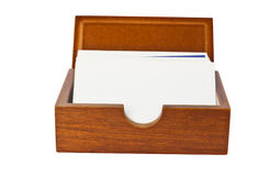 Wooden card holder Stock Images