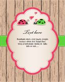 Wooden card with ladybirds in love. Royalty Free Stock Image