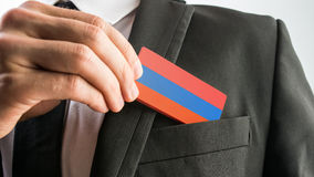 Wooden card painted as the Armenian flag Royalty Free Stock Image