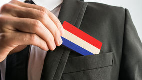 Wooden card painted as the Netherlands flag Stock Image