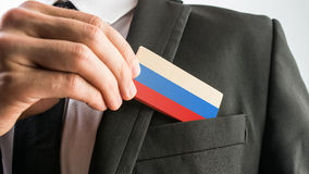Wooden card painted as the Russian flag Royalty Free Stock Images