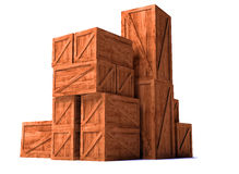 Wooden cargo export import boxes Stock Images