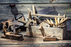 Wooden carpenters box with tools Royalty Free Stock Photos