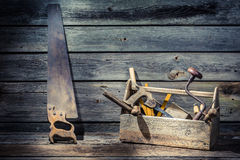 Wooden carpenters tool box stock photo