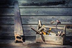 Wooden carpenters tool box Stock Photo