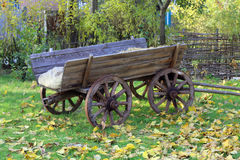 Wooden carriage in garden Royalty Free Stock Photo
