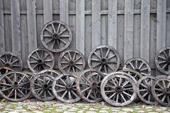 Wooden carriage wheels Stock Photography