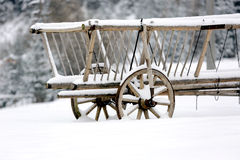 Wooden carriage in winter Stock Image