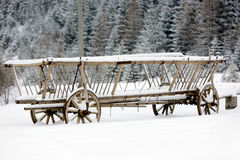 Wooden carrige under snow Royalty Free Stock Images