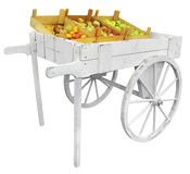 Wooden Cart with apples Stock Photos