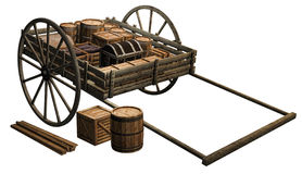 Wooden cart with crates. 3D render of a wooden cart with crates and barrels Stock Images