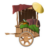 Wooden cart with different products,  Royalty Free Stock Images