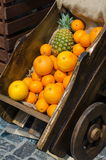 Wooden cart with exotic fruits Royalty Free Stock Photo