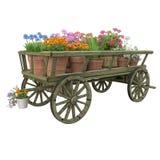 Wooden cart flower pot stock photos
