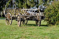 Wooden Cart on Grass Royalty Free Stock Images