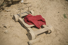 Wooden cart on the ground Royalty Free Stock Images