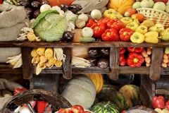 Wooden cart with harvest of vegetables Stock Images