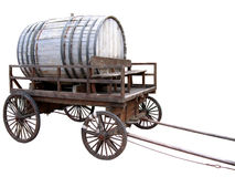 Wooden cart with a keg. Stock Photo