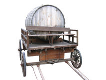 Wooden cart with a keg. Royalty Free Stock Image