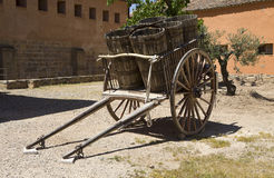wooden cart with kegs Royalty Free Stock Image