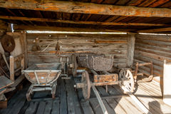 Wooden cart and other stock in museum Royalty Free Stock Photography