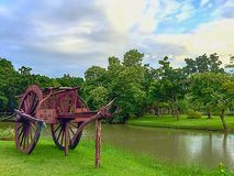 Wooden Cart In The Park Stock Photo