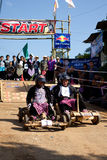 The wooden cart racing Royalty Free Stock Images