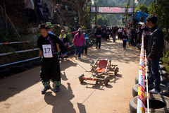 The wooden cart racing. Stock Photo