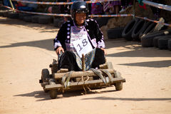 The wooden cart racing. Royalty Free Stock Images