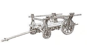 Wooden cart sketch royalty free illustration