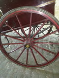 Wooden cart, trap or carriage. Painted old wooden carriage or trap Royalty Free Stock Photos