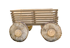 Wooden cart on white background Royalty Free Stock Image