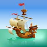 Wooden cartoon ship. Stock Photos