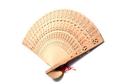 Wooden carve folding  chinese style hand fan Stock Images