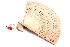 Wooden carve folding chinese style hand fan on white Stock Photos