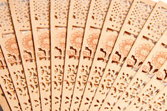 Wooden carve folding chinese style hand fan Stock Photography