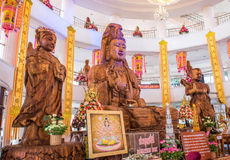 Wooden carve of Guan Yin Royalty Free Stock Images