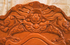 Wooden carve of Lao furniture Royalty Free Stock Images