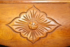 Wooden carve of Lao furniture Royalty Free Stock Photo