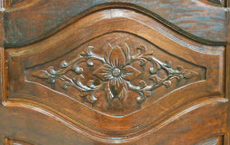 Wooden carve of Lao furniture Stock Photography