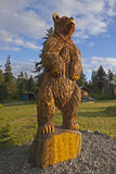 Wooden carved Alaskan brown bear Royalty Free Stock Image