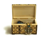 Wooden carved box with decorations Royalty Free Stock Image